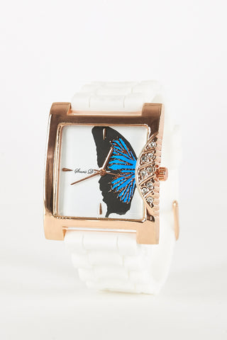 Butterfly Design With Diamante Side Detail Watch