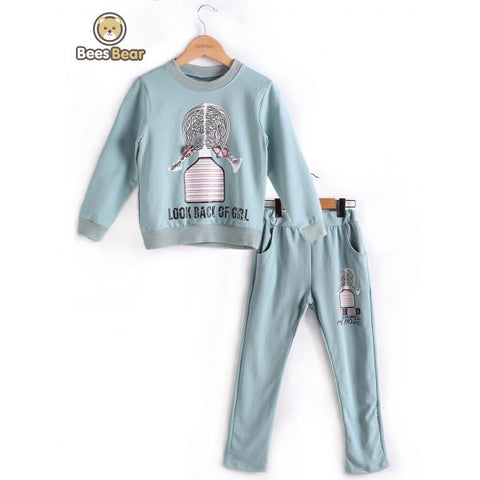 Long Sleeve Cartoon Girl Print Sweatshirt + Pants