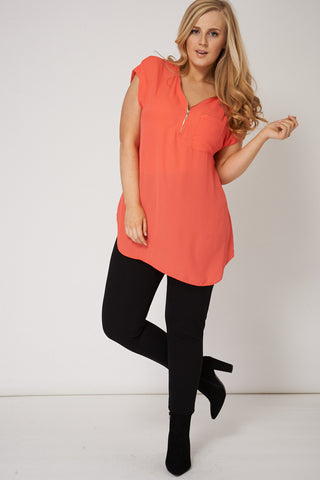 Lovely Chiffon Top With Zip Detail Ex-Branded