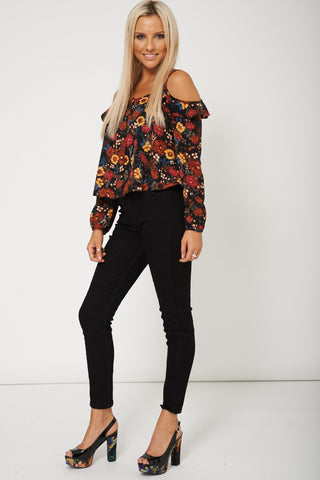 Long Sleeve Floral Printed Crop Top Available In Larger Sizes