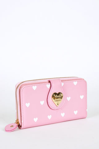 Heart Print Large Purse Pink