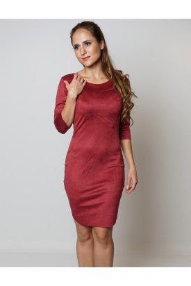 Nushka Wine 3/4th Sleeves Soft Suede Dress