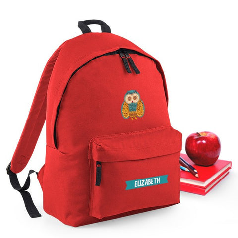 Owl Personalised Red Backpack