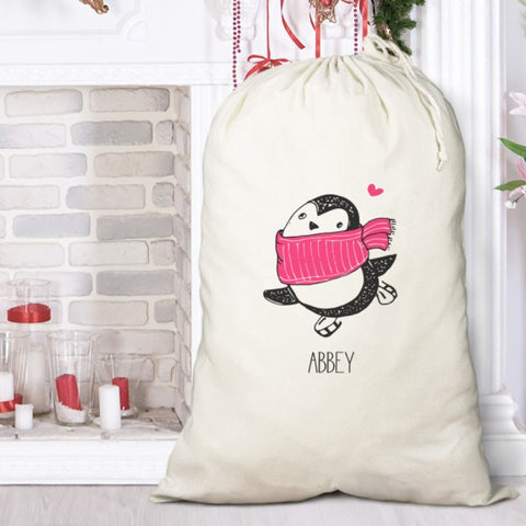 Personalised Cute Penguin Cotton Sack for Girls