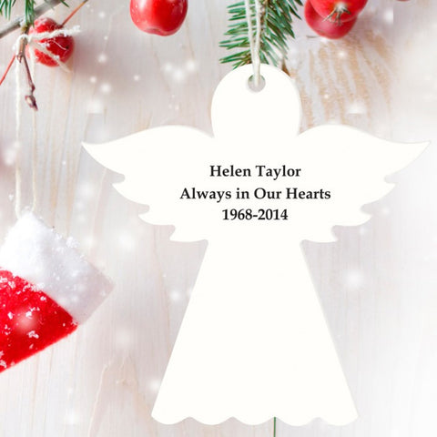 Personalised Wooden Angel Decoration - In Loving Memory