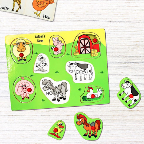 Personalised Wooden Farm Animals Peg Puzzle