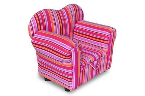 Kids' Pink Stripey Chair with Storage