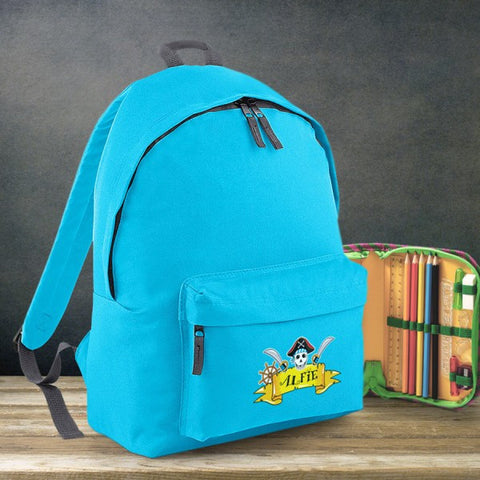 Pirate Personalised Blue Backpack