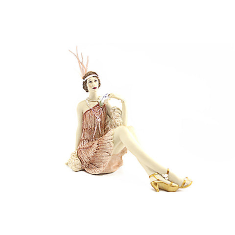 Roaring 20s Lady Coral Sitting ornament figure PREORDER