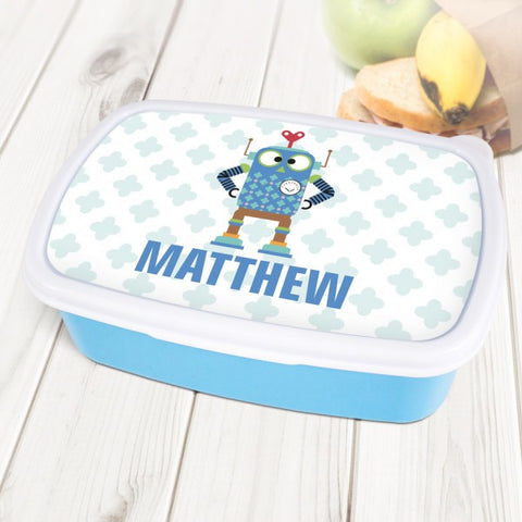 Robot Personalised Blue Lunch Box