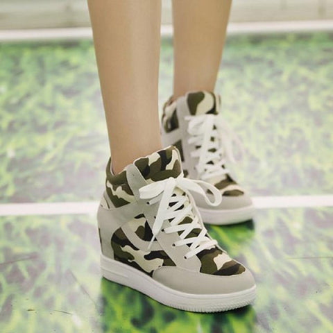 Stylish Camouflage and Hidden Wedge Design Sneakers For Women