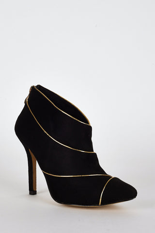 Suedette Gold Coloured Trim High Heel Ankle Boots In Black