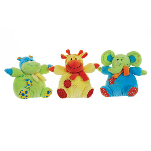 Funky 8'' Colourful Safari Animal Baby Rattle Soft Toy