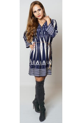 Enrica Navy Ivory Aztec Feather Tip Belted Zip Detail Tunic Dress