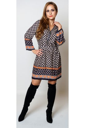 Enrica Navy Orange Floral Belted Zip Detail Tunic Dress