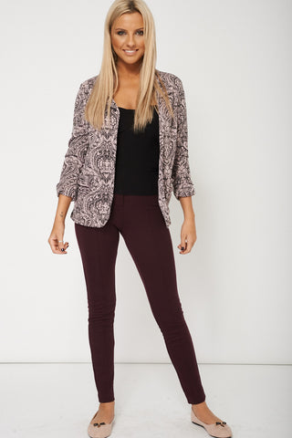 Abstract Print Cosy Long Sleeved Blazer With Front Pockets Available In Plus Sizes