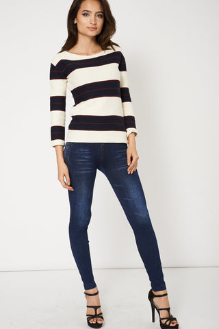 100% Cotton Stripe Jumper With Zip Details