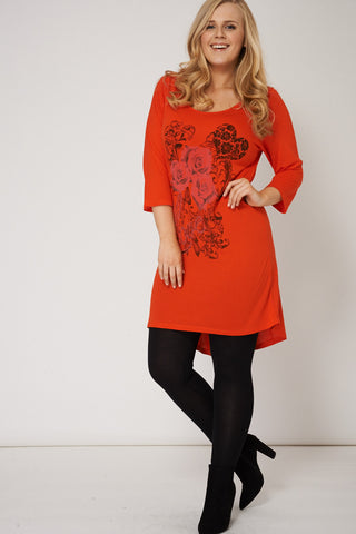 Orange Top With Floral And Love Print