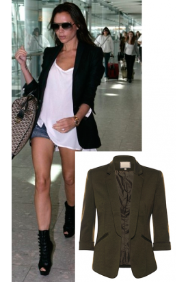 Victoria Beckham Celebrity Inspired Khaki Open Front Collared 3/4 Sleeves Smart Jacket