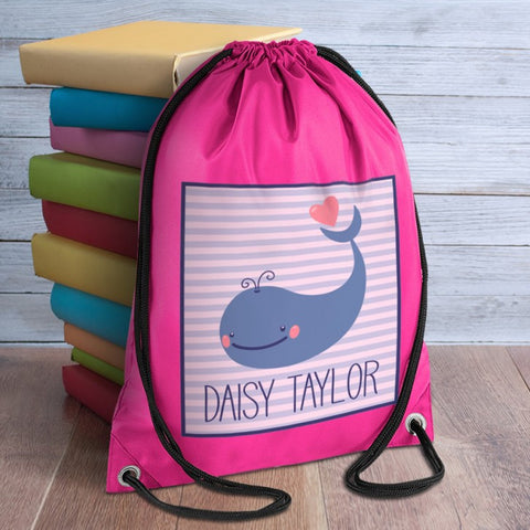 Whale Personalised Pink Bag