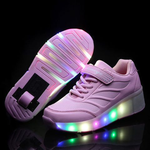 LED Kids Wheely Shoes Girls Boys LED Light up Roller Skate Sneakers