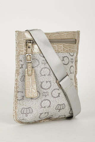 Cross Body Bag With Alphabet Spaghetti And Crown Design In Grey