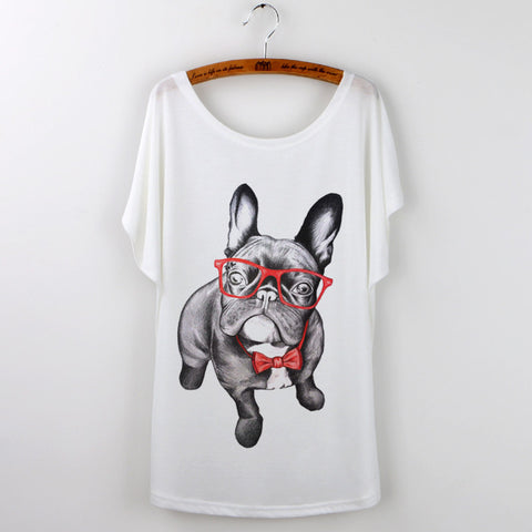 2016 Funny Pug Print Women T-Shirt Female Tops Whi