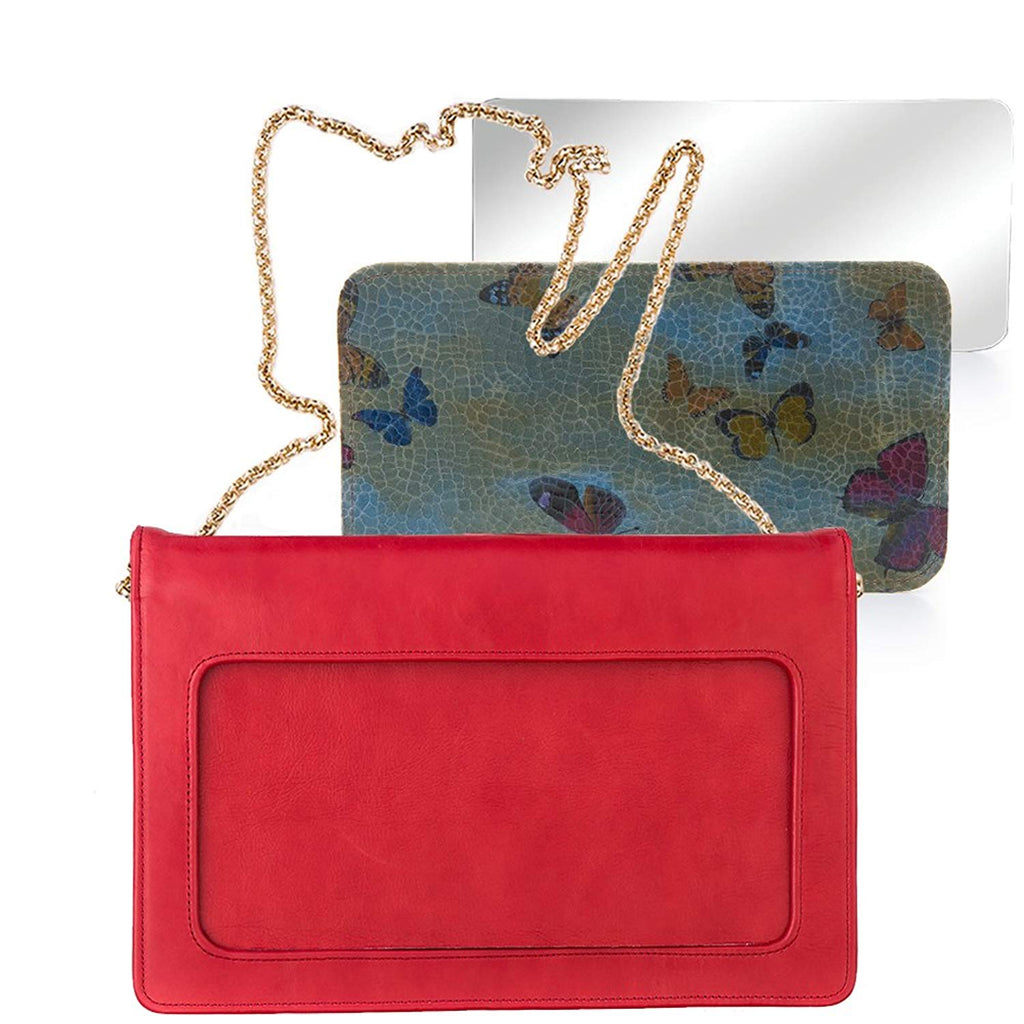 Moon Clutch Leather Purse For Women - with Detachable and Interchangeable Accessories