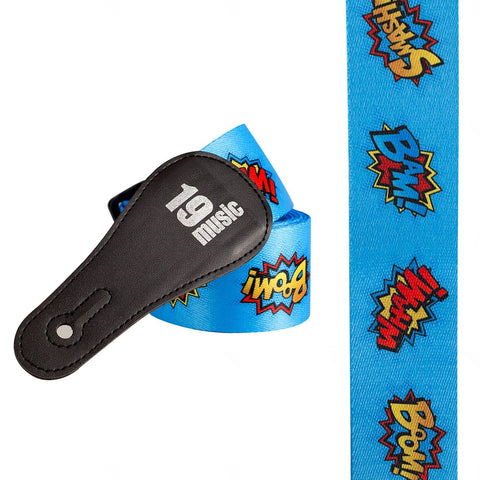 Pop Art Captions Guitar Strap (Blue)