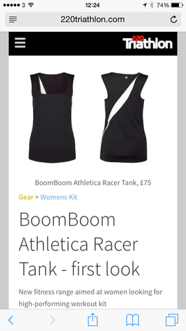 Racer Tank featured in 220 Triathlon 26 March 2015