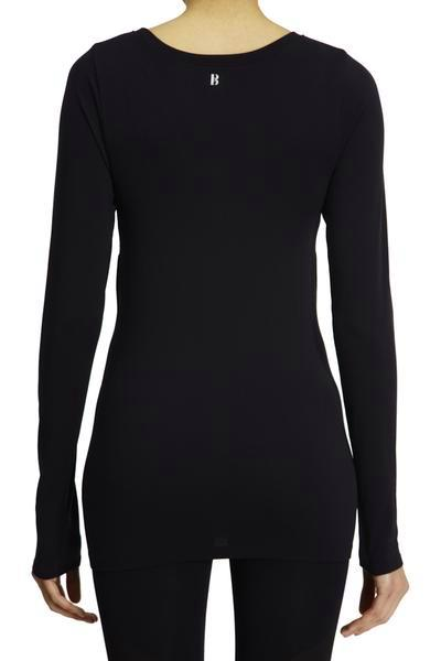 Seamless Long Sleeve with Reverse V - Black w Blue