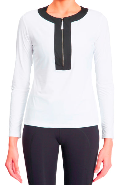 Long Sleeve Half Zip Tunic - White Black