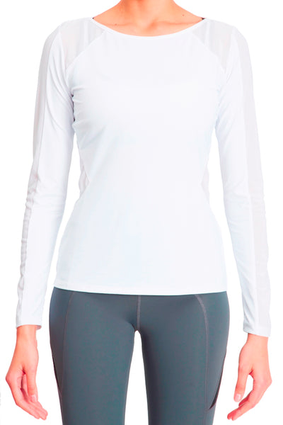 Body Con Mesh Panel Long Sleeve Tee - White
