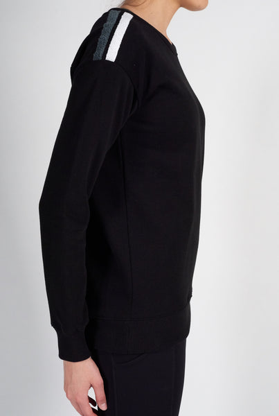 Tri Colour Shoulder Sweatshirt - Black White Grey