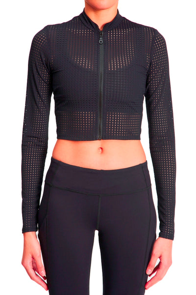 Perforated Crop Jacket - Black