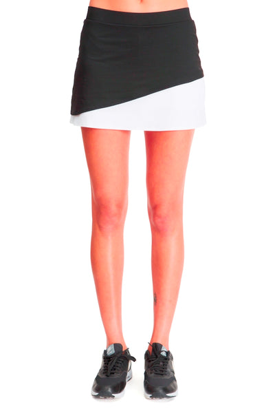 Running / Tennis Skirt with Built in Short - Black White