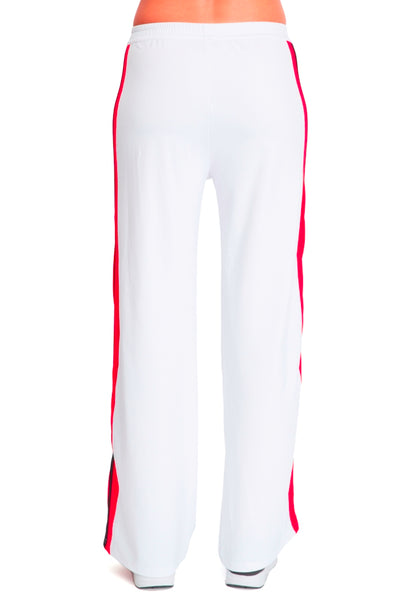 Wide Leg Pant - White with Red & Black Stripe