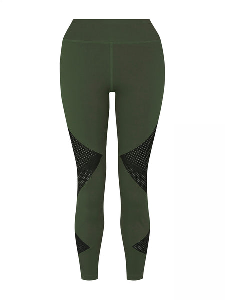 Cropped Fashion Legging (Medium Compression) - Military Green