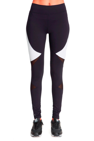 Long Compressive Fashion Leggings - Black White