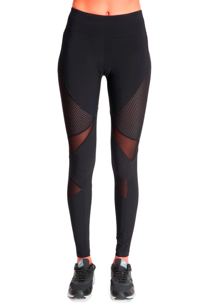 Long Compressive Fashion Leggings - Black with Perforated Panels