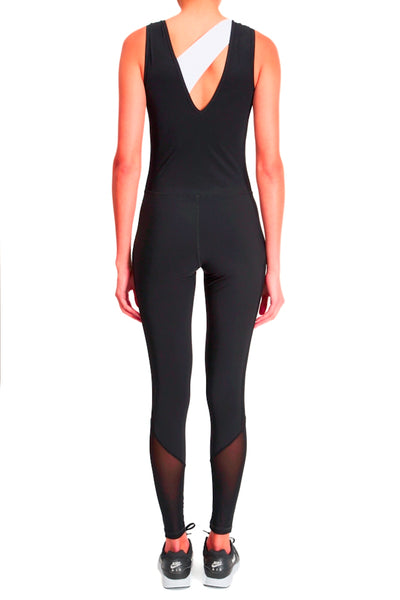 Performance Mesh Panel Jumpsuit - Black with White Accent