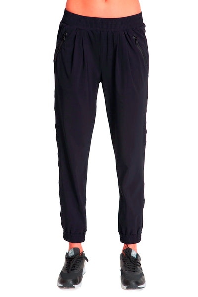 Track Pant with Zip - Black