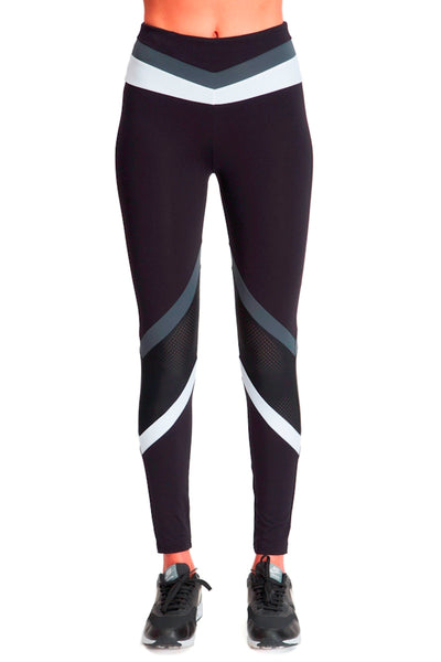 Tri Colour Blocked Legging (Medium Compression) - Black White Grey