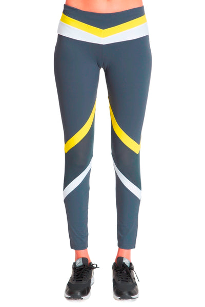 Tri Colour Blocked Legging (Medium Compression) - Grey White Yellow