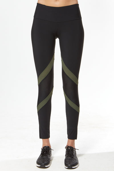 Tri Colour Blocked Legging (Medium Compression) - Black with Military Green