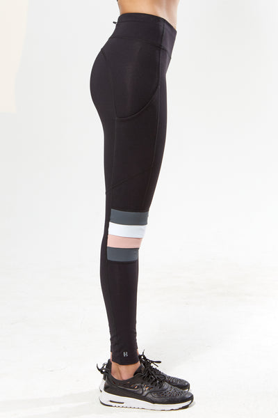 Slalom Leggings w Pocket - Black with Rose-White-Grey