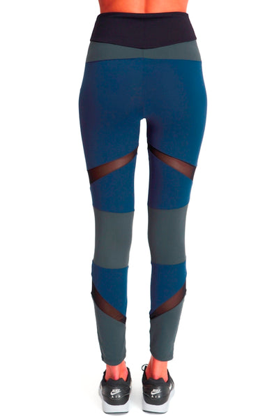 Brushed Tri Colour Panel Leggings - Navy Green Black