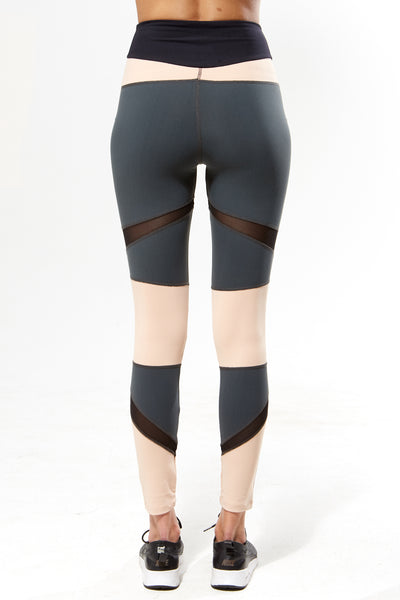 Brushed Tri Colour Panel Leggings - Rose Grey Black