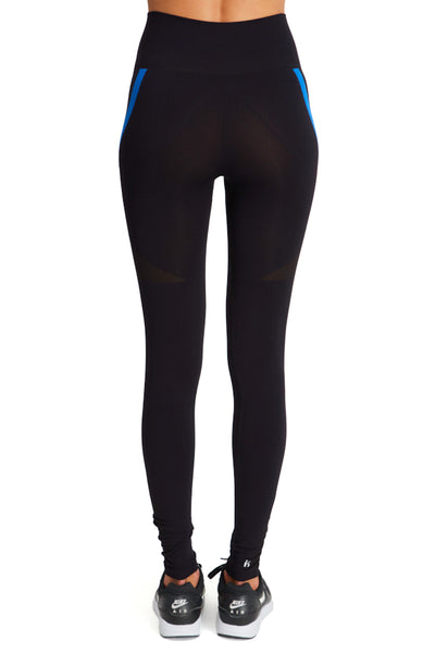 Seamless Leggings with Reverse V - Black w Blue