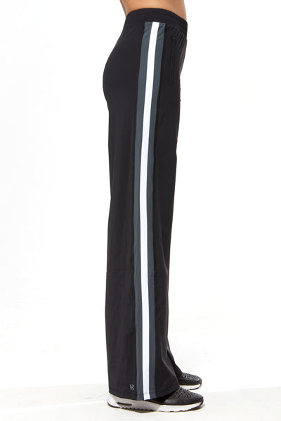 Wide Leg Pant - Black with Grey & White Stripe